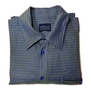 {Versace Jean's Couture} Blue Green Striped Shirt…